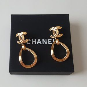 Authentic Chanel CC Dangling Earrings Gold